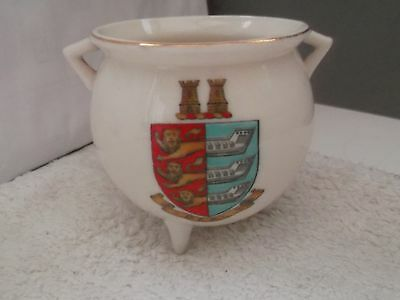 Vintage Model Of An Ancient Irish Bronze Pot Crested  Deal And Kent  By W H Goss