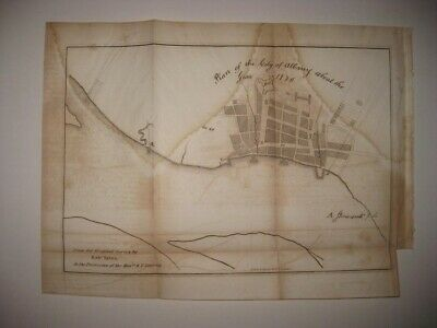 Antique 1850 Albany New York In 1770 Map Colonial Fort Superb Rare Nr