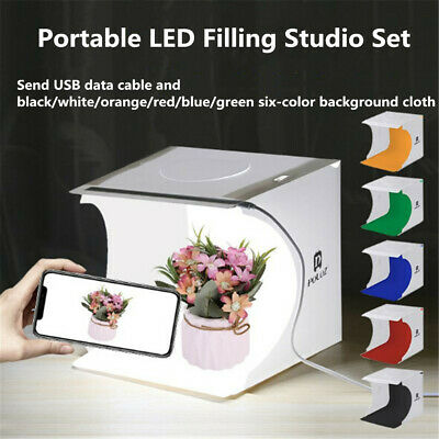 Photo Studio Photography Light Box Adjustable 6Colors Backdrop Lighting Room Set