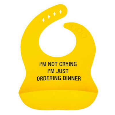 ORDERING DINNER Soft Silicone Easy Clean Adjustable Neck Say What Silicone Bib