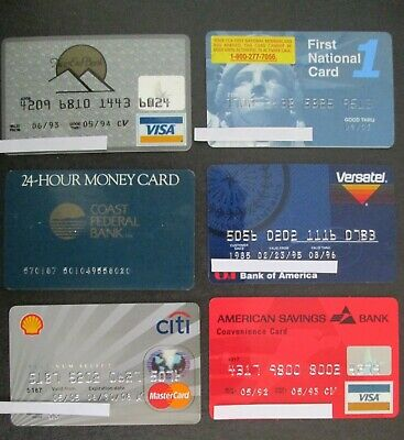 Vintage Lot of 6 Bank Credit Charge Cards EXPIRED visa atm For Collectors LOT34