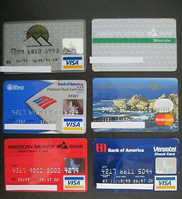 Vintage Lot of 6 Bank Credit Charge Cards EXPIRED visa atm For Collectors LOT31