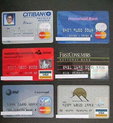 Vintage Lot of 6 Bank Credit Charge Cards EXPIRED visa atm For Collectors LOT35