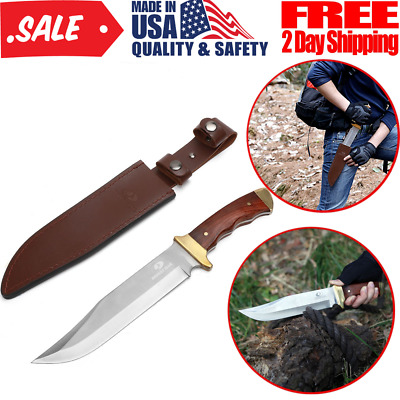 Outdoor Camping Hunting Sharp Bowie Knife Wood Handle Leather Sheath 14 Inch New