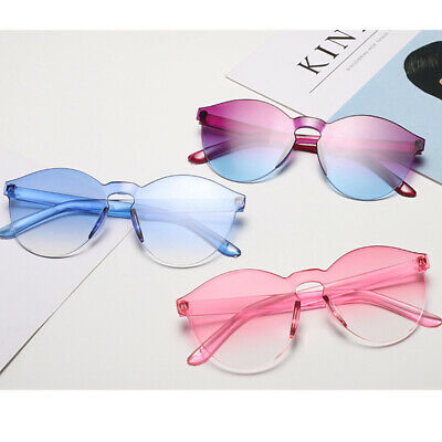 Gradient Rimless Round Women Sunglasses Tinted Transparent Candy Color Eyewear