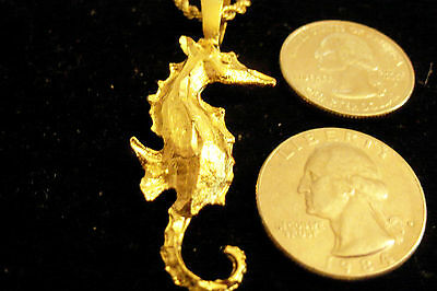 bling gold plated sea horse beach myth fashion pendant charm necklace jewelry gp