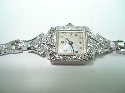 Platinum Diamond Geneva Ladies Wristwatch 14 Kt Gold Diamond Bracelet Band