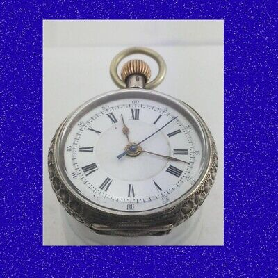 Pretty Swiss Silver Patent Centre Secs Chronograph 15 Jewel Pocket Watch 1885