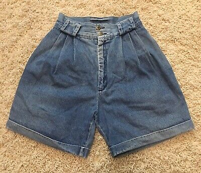 Size XS 24 Waist Women's Vintage 90s Denim High Waisted Mom Jean Shorts Jeans