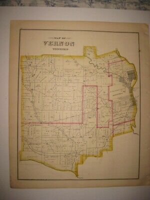 Antique 1876 Vernon Township Vallonia Crawford County Pennsylvania Handcolor Map