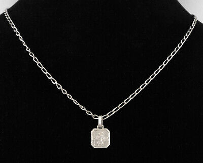 e47ace2d88b ITALY - VINTAGE STERLING SILVER SAINT CHRISTOPHER MEDAL w/ LONG S.S. Chain