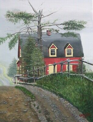 """Foggy Day in Tors Cove"" Original Newfoundland Art - Painting on Canvas 2019"