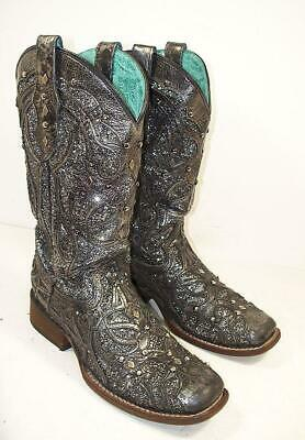 911cca1ef03 CORRAL DISTRESSED GRAY Leather Eagle Inlay Cowboy Boots Size 10 M ...