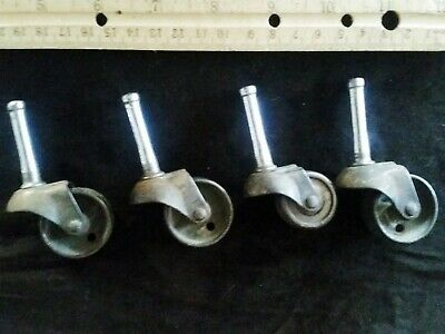 Antique Metal Iron Trolley Furniture Castors Wheels Old Set Of Three Plus One