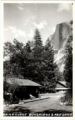 RPPC YOSEMITE NATIONAL PARK, CA Camp Curry BUNGALOWS & HALF DOME c1940s Postcard