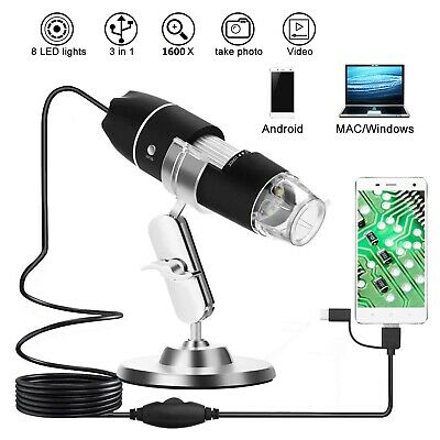 1600X USB Digital 8 LED Mikroskop Lupe Fach Endoskop Video HD Microscope Kamera
