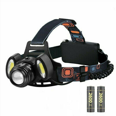 3 Cree LED Head Torch Rechargeable Super Bright Headlamp Fishing light Battery
