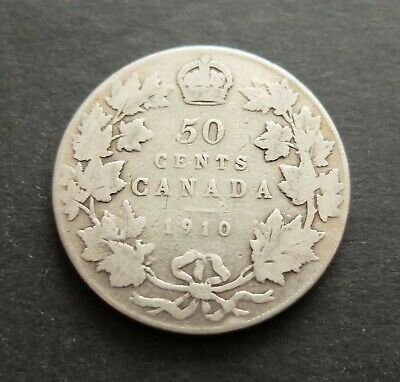 1910 Sterling Silver Canada 50 Cents Good Circulated Condition Coin, Lot#65