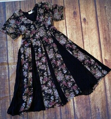 Vtg 90s Sweeping STARINA dbl layer Blk Floral lace Grunge Boho Witch Sun DRESS L