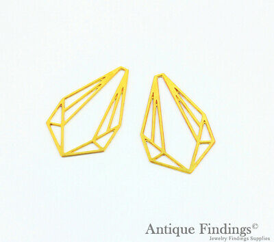 Exclusive 2Pcs Raw Brass Geometric Pendant For Necklace Earring Brooch TG409