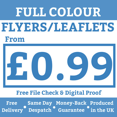 1000 A6 A5 A4 Flyers Leaflets Printed Full Colour Flyer Leaflet Printing ~ £0.99