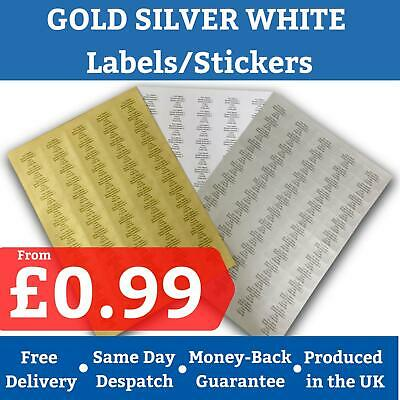 Custom Customised Printed Sticky Address Labels Stickers Gold White Silver ~ 99p