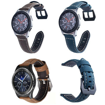 Vintage Synthetic Leather Strap Metal Clasp For Samsung Galaxy Watch 46mm