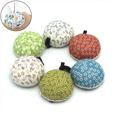 Supplies Button Storage Floral Sewing Pin Cushion Needle Holder Wrist Strap