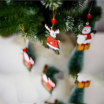 Merry Christmas Ornaments Santa Claus Snowman Tree Hanging Decorations LA