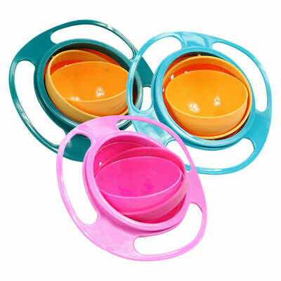 Baby Kids Anti Spill Bowl 360 Degree Rotary Bowl Gyro Gravity Feeding Feed Bowls