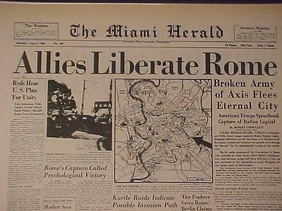Vintage Newspaper Headline~World War Germany Nazi Army Falls Allies In Rome Wwii