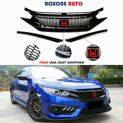 Glossy Black Mesh Front Hood Grille For 16-19 HONDA CIVIC 10TH GEN JDM CTR STYLE
