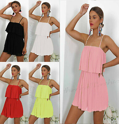 Womens Ladies Strappy Frill Bust Pleated Summer Playsuit Jumpsuit Mini Dress New