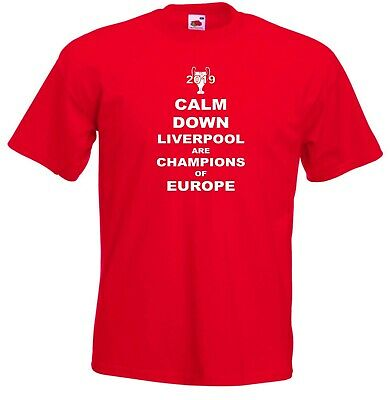 Liverpool FC Calm Down Champions Of Europe Football Jersey T-Shirt - All Sizes