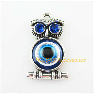 5 New Animal Owl Birds Resin Charms Tibetan Silver Pendants 16.5x28.5mm