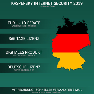 Kaspersky Internet Security 2019 DE [1 PC,  2 PC, 3 PC, 5 PC, 10-GERÄTE USER ]
