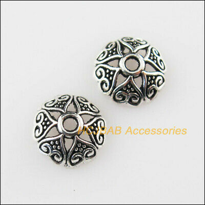 60 New Flower Heart End Caps Tibetan Silver Tone Spacer Beads 8mm