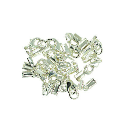 12x Lobster Clasp Fold Cord End Crimp Caps Bail Tip Connector Silver White
