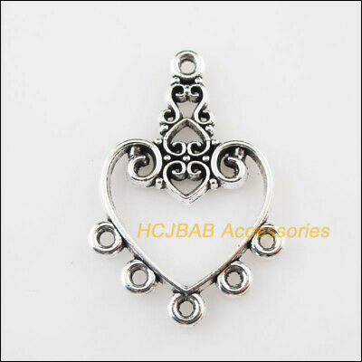 8 New Heart Flower Charms Connectors Tibetan Silver Tone Pendants 21x31mm