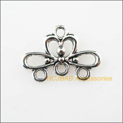 30 New 1-3 Flower Charms Connectors Tibetan Silver Tone Pendants 13x18.5mm