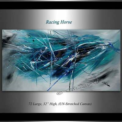 Teal Blue Oil Painting, Emotion, Abstract art on Canvas, Wall Art, Home Decor