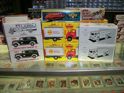 Lot Of (8) Shell-Amoco-Texaco Tankers Die-Cast Metal Banks (In Original Boxes)