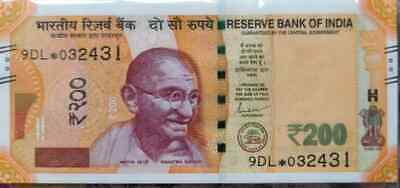 UNC India New 200 Rupees Replacement Star Series 5GK Prefix 2018