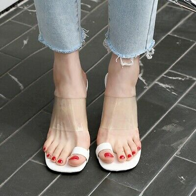 Women Slingbacks Slippers Transparent Sandals Toe Ring Block Mid Heel Shoes Sexy