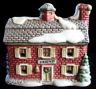 Vintage Ceramic Christmas Winter Snow Village Friendship House, Holiday Building