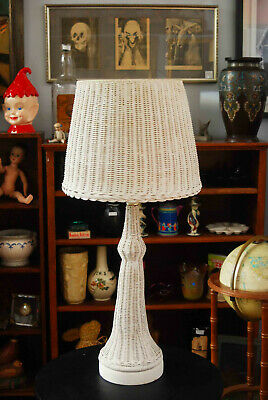 """Vintage Mid Century White Wicker Tall Eiffel Tower Lamp With Shade 37"""""""