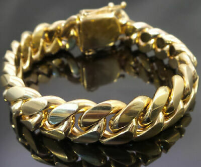 Mens' Miami Cuban Link Chain Bracelet 14k Gold Plate Stainless Steel 10mm-14mm