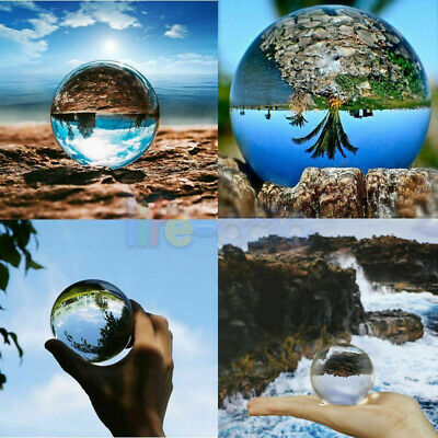 30~80mm Clear Glass Crystal Ball Healing Sphere Photography Props Lensball Decor