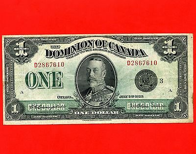 1923 Dominion Of Canada 1 Dollar Bank Note S/N D2867610