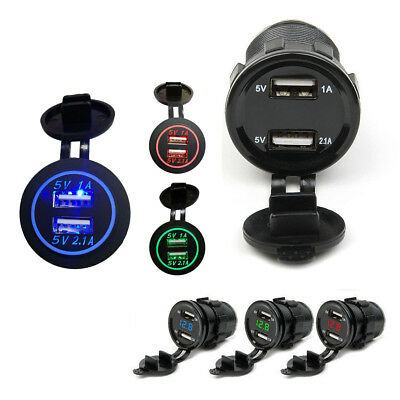 Dual 12V USB Car Cigarette Lighter Socket Splitter Charger Power Adapter Outlet